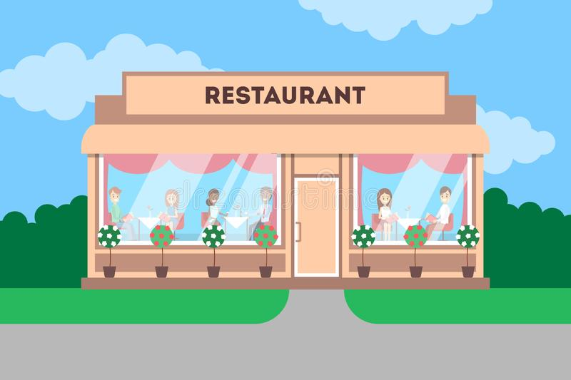 Restaurant building in the city. Cafe exterior. Front view with plants outside. Flat vector illustration vector illustration