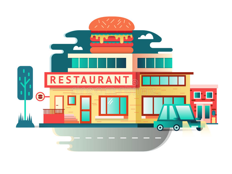 Restaurant building flat design stock vector