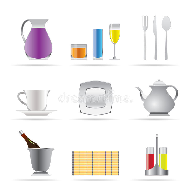 Free Restaurant, Cafe, Bar And Night Club Icons Royalty Free Stock Image - 12168026