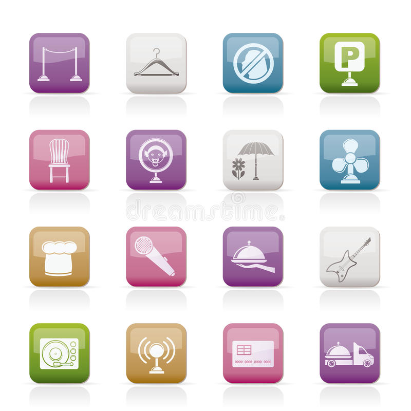 Restaurant, cafe, bar and night club icons royalty free illustration
