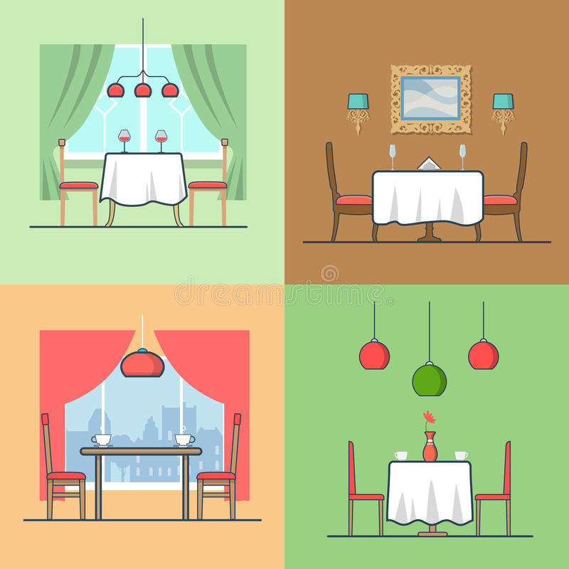 Restaurant cafe condo accommodation dining room co. Sy modern interior indoor set. Linear stroke outline flat style vector icons. Color table stool chair wine royalty free illustration