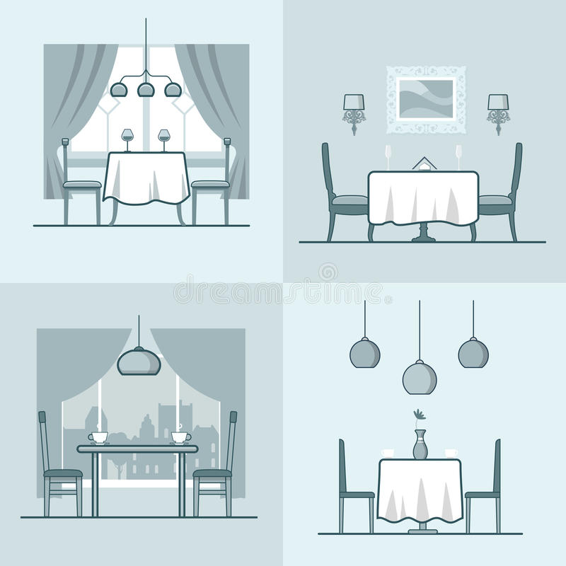 Restaurant cafe condo accommodation dining room co. Sy modern interior indoor set. Linear stroke outline flat style vector icons. Monochrome table stool chair royalty free illustration