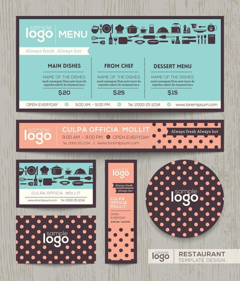Restaurant cafe menu design template with pastel polka dot pattern vector illustration