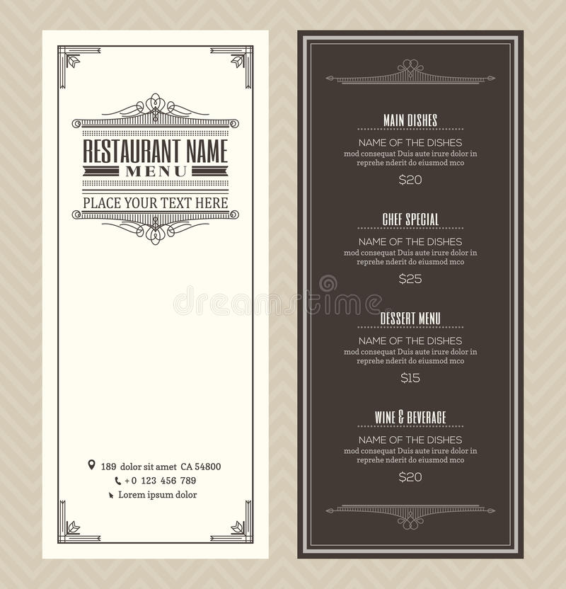 Restaurant or cafe menu design template with vintage retro art deco frame stock illustration