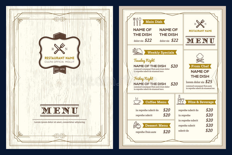 Restaurant or cafe menu design template with vintage retro frame stock photos