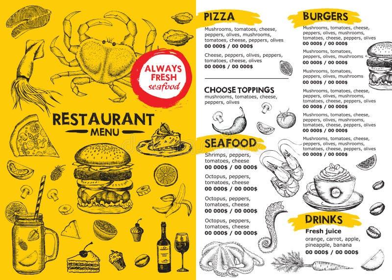 Restaurant cafe menu, template design. Food flyer. vector illustration