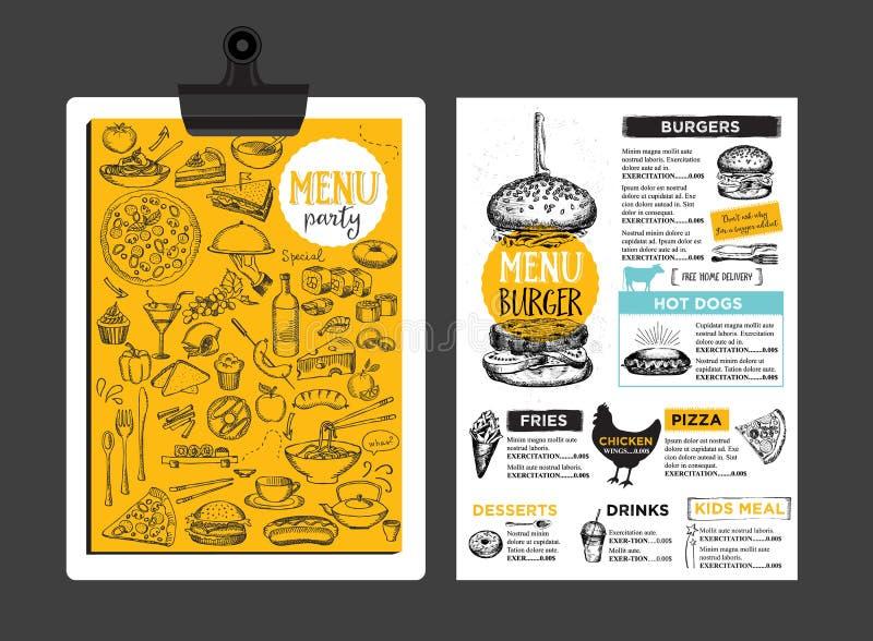 Restaurant cafe menu, template design. Food flyer. Menu placemat food restaurant brochure, menu template design. Vintage creative dinner template with hand vector illustration