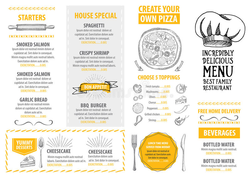 Restaurant cafe menu, template design. Food flyer. Restaurant cafe menu, flyer design. Vector template with graphic
