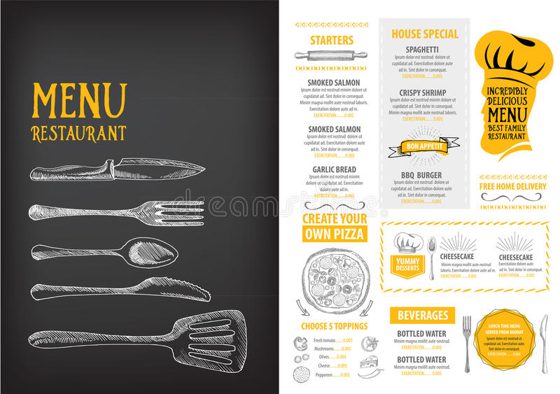 Restaurant Cafe Menu Template Design Food Flyer Stock Vector - Delivery menu template