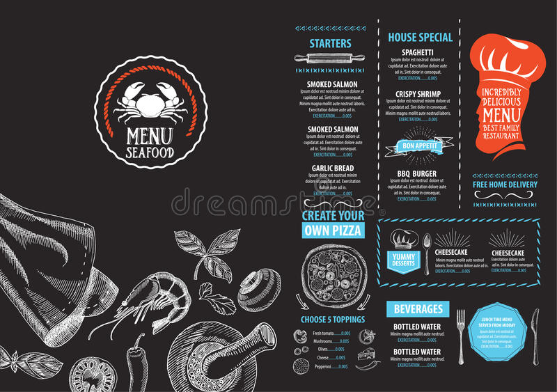 Restaurant cafe menu, template design. Food flyer. royalty free illustration