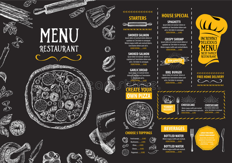 Restaurant cafe menu, template design. Food flyer. stock illustration