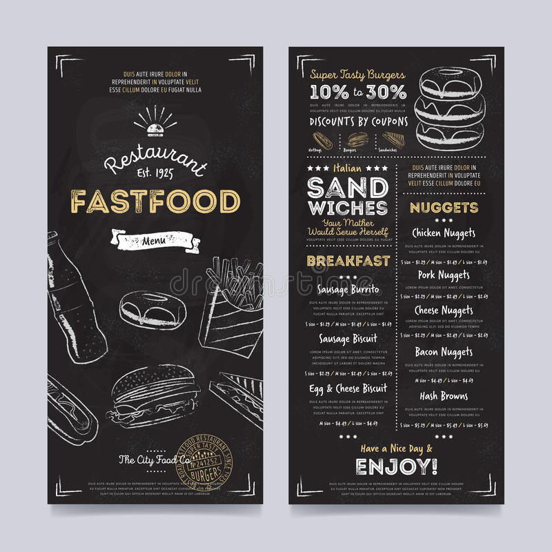 Restaurant cafe menu template design, vector royalty free stock photo