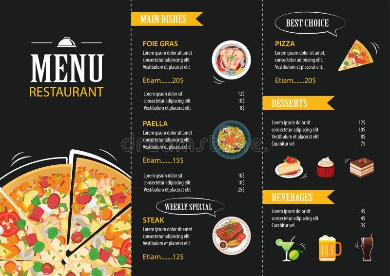 Restaurant cafe menu template flat design royalty free illustration