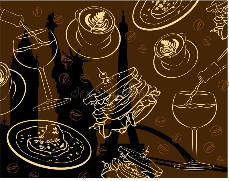 Restaurant chic et amende dinant le papier peint de vecteur illustration de vecteur