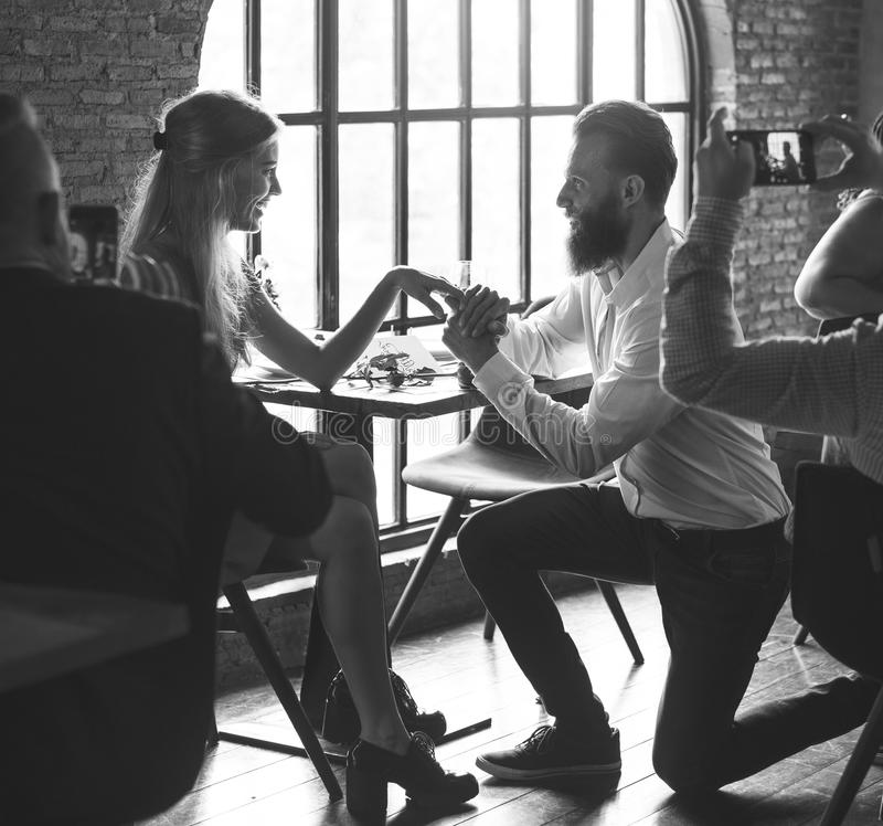 Restaurant Chilling Out Classy Lifestyle Reserved Concept. People Proposing Marriage Happiness Holiday stock photos