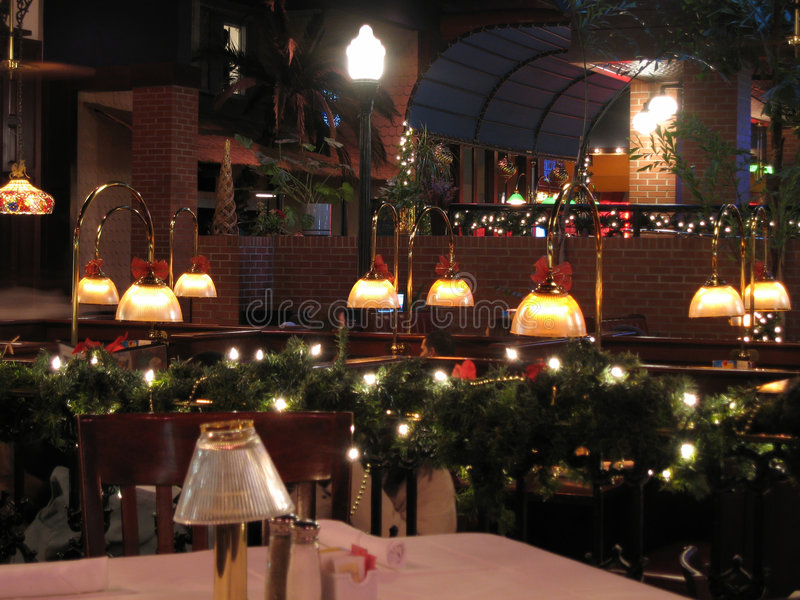 Download Restaurant At Christmas Time Stock Image - Image of fine, warm: 1704883