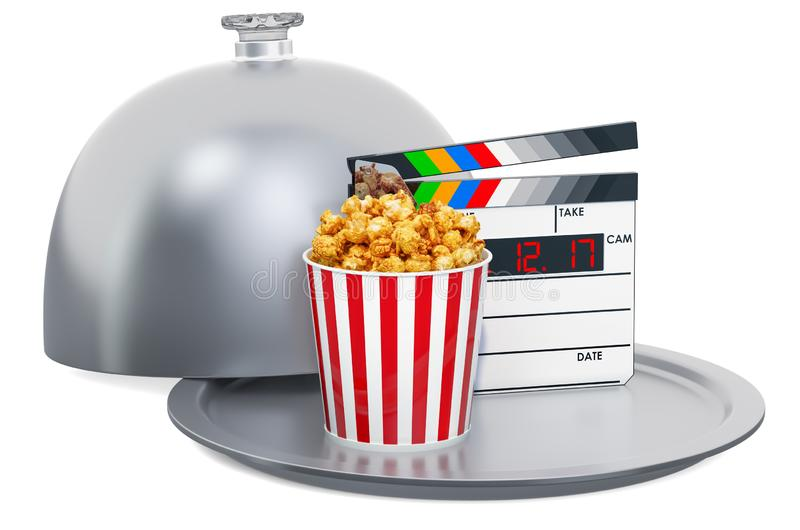 Restaurant cloche with clapperboard and popcorn container. Cinema concept, 3D rendering vector illustration