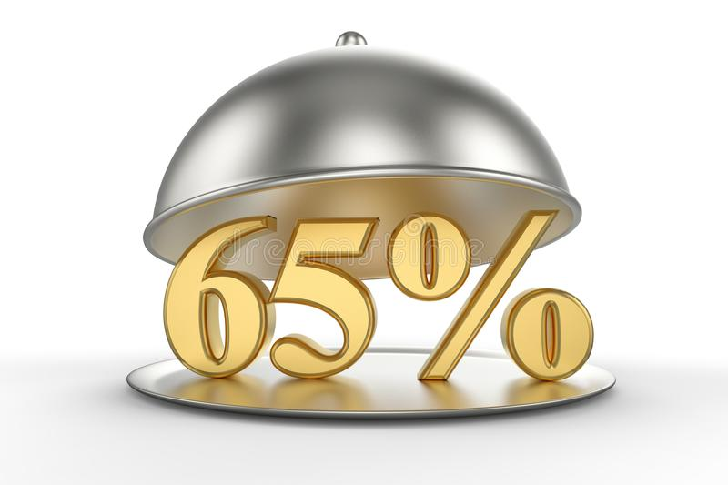 Restaurant cloche with golden 65 percent off Sign royalty free illustration