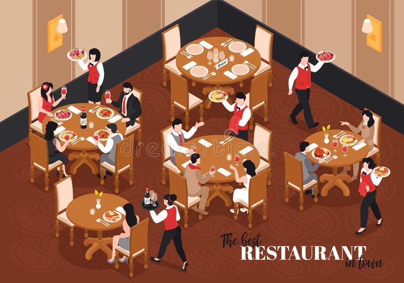 In The Restaurant Composition vector illustration