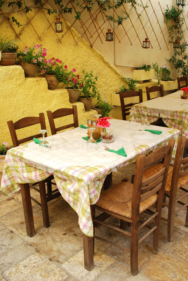 The restaurant in Corfu royalty free stock photo