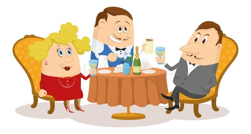 Restaurant, couple près de la table, d'isolement illustration stock