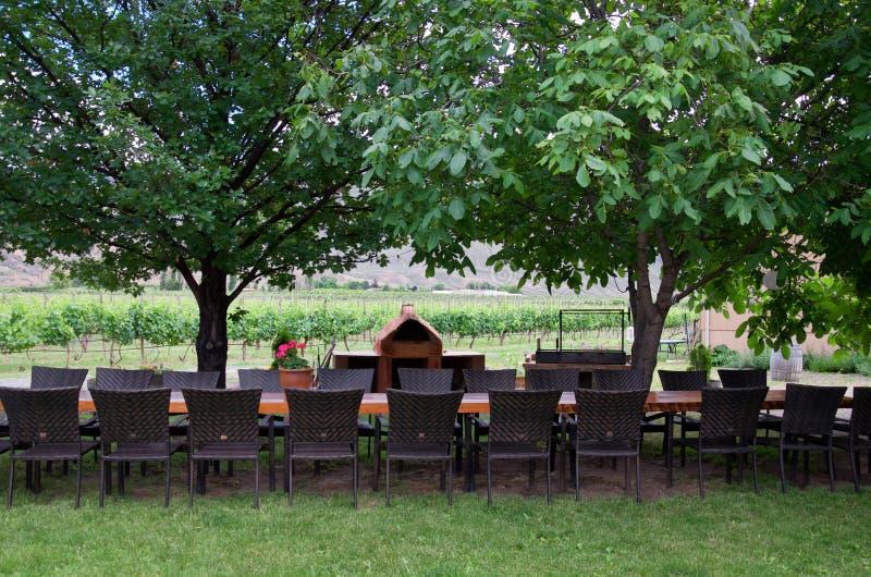 Restaurant dans l'établissement vinicole en été photos libres de droits