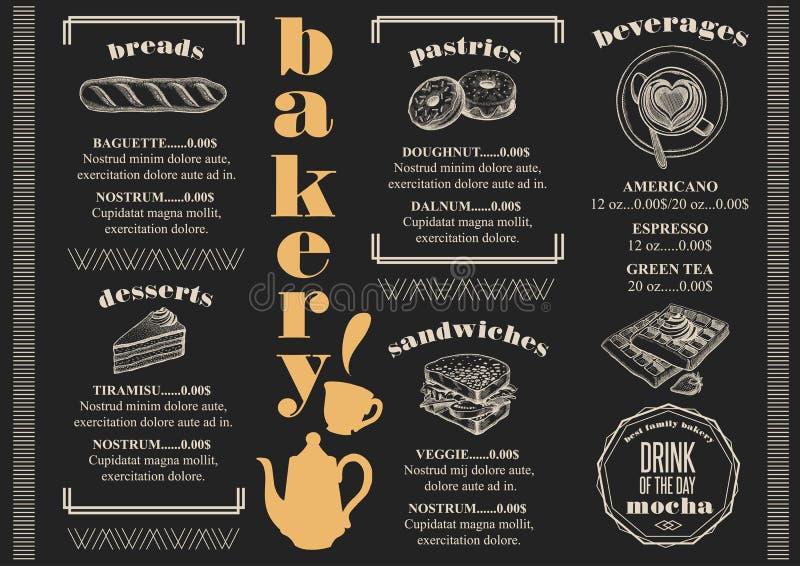 Restaurant de boulangerie de menu, placemat de calibre de nourriture illustration de vecteur