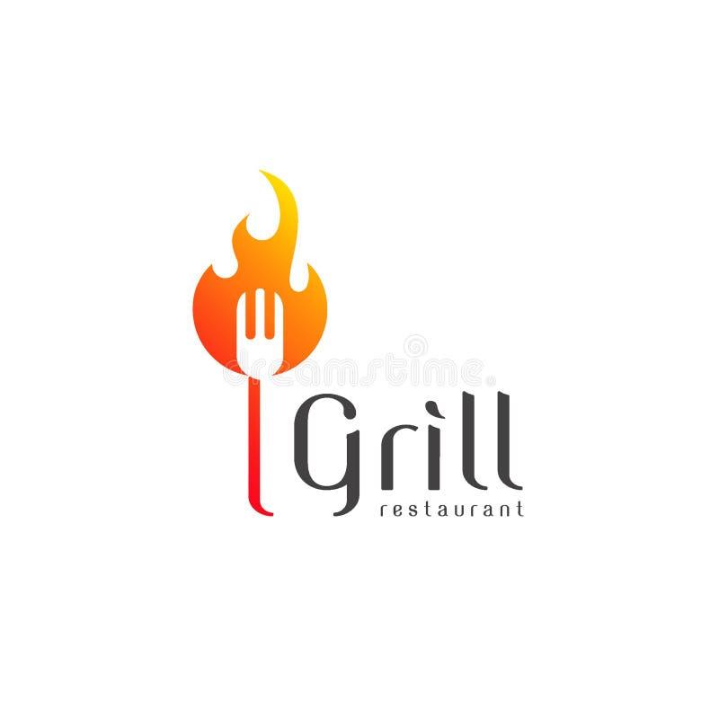 Restaurant de gril de conception de logo de vecteur illustration libre de droits