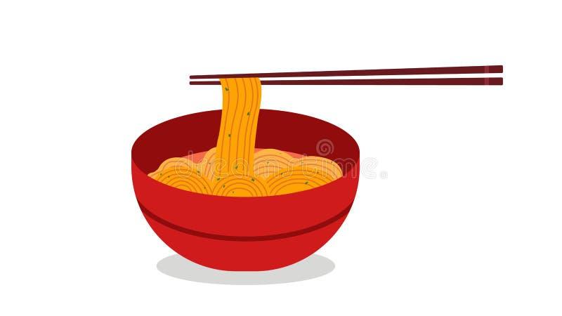 Restaurant de nouilles avec le vecteur rouge de cuvette Soupes de nouilles japonaises de Ramen Bol rouge de soupe de nouilles illustration libre de droits