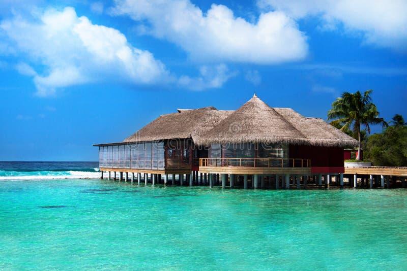 Restaurant in de oceaan, de Maldiven royalty-vrije stock afbeeldingen