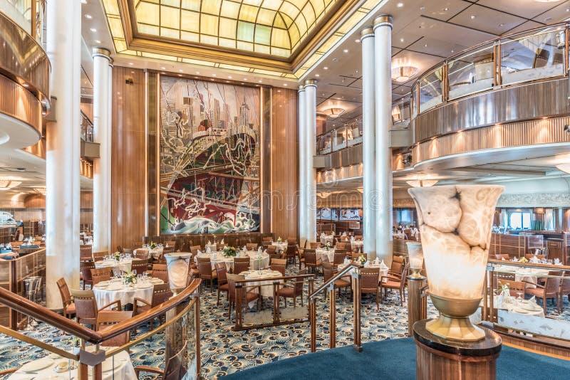 Restaurant de RMS Queen Mary 2 Britannia photos libres de droits