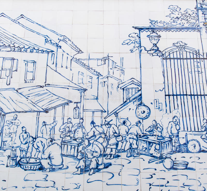Restaurant de rue en dehors de S Domingos était a dessiné sur le mur en céramique par George Chinnery en 1840 photographie stock libre de droits