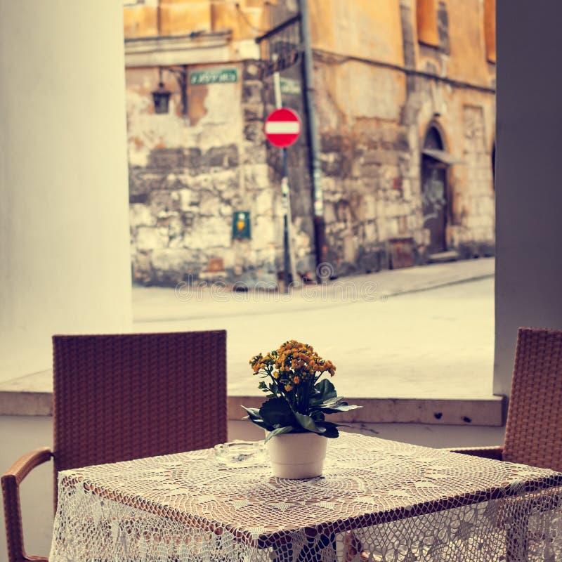 Restaurant der Weinlese im Freien lizenzfreies stockbild