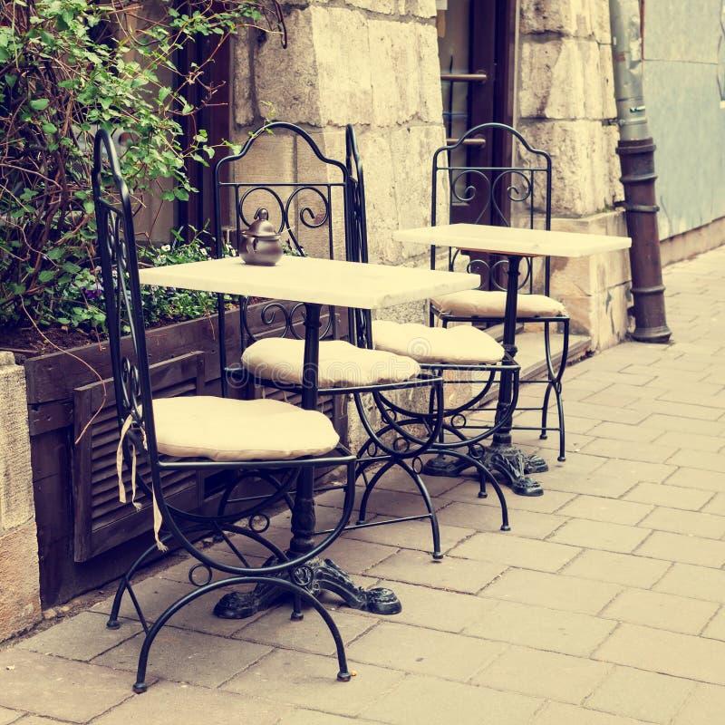 Restaurant der Weinlese im Freien lizenzfreies stockfoto