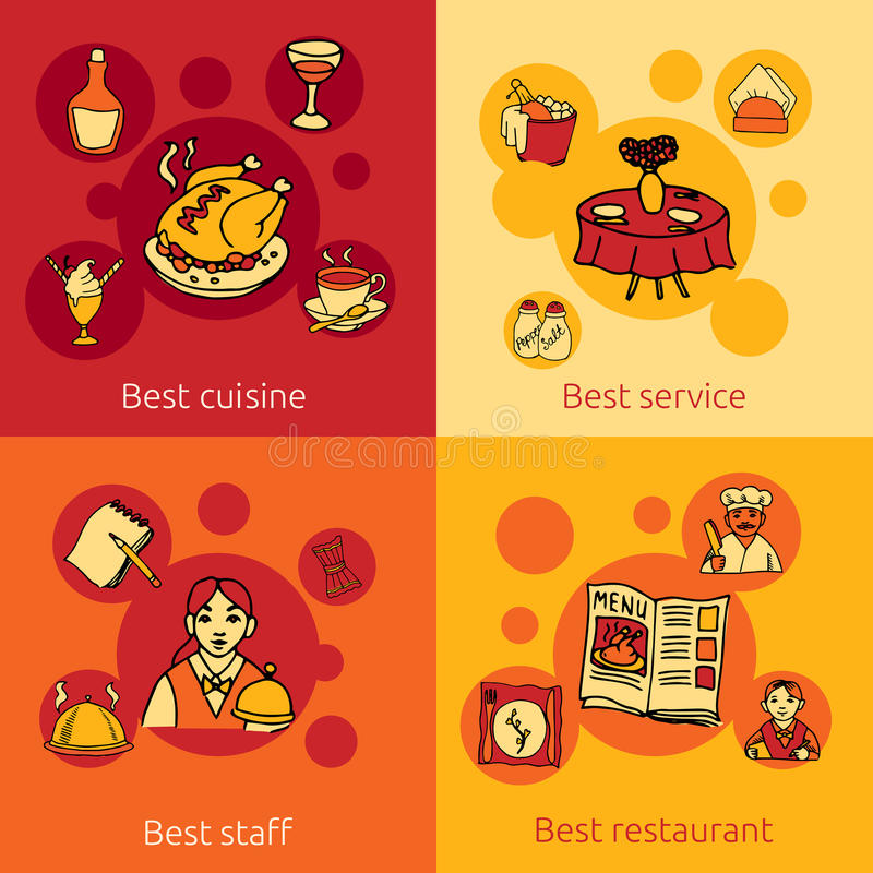 Restaurant design concept 4 flat icons stock illustration
