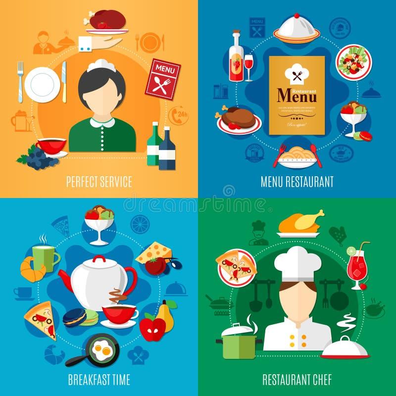 Restaurant 2x2 Design Concept royalty free illustration