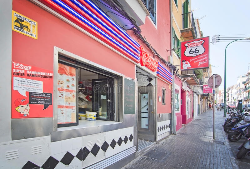 Restaurant Diner 66 neon sign entrance stock images