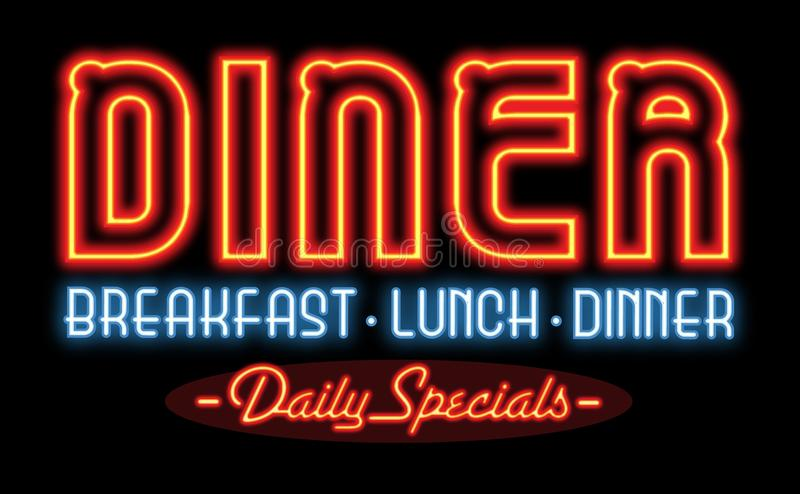 Restaurant Diner Neon Sign stock photography
