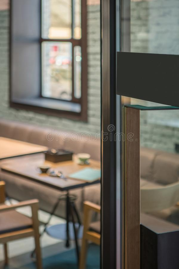 Download Restaurant Door Handle With Pull Sign On Glass Doors Stock Photo
