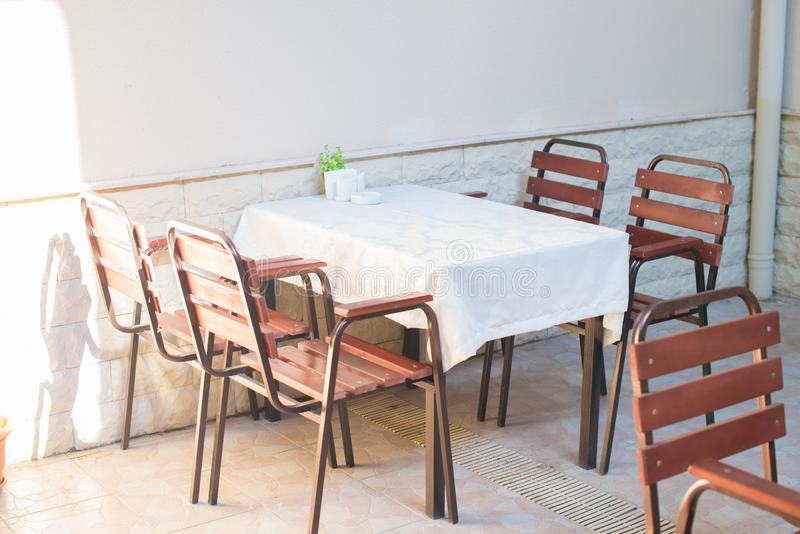 Restaurant empty table and chairs, Cafe terrace table. And chairs stock image