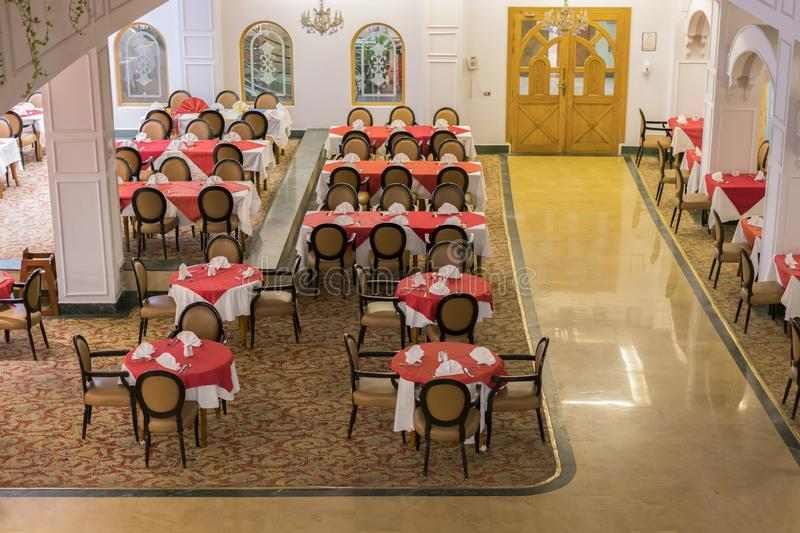 Restaurant with empty tables. view from above.  royalty free stock photography
