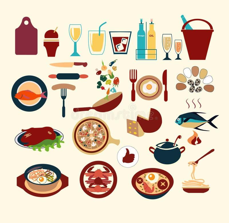 Restaurant en het dineren reeks - Illustratie stock illustratie