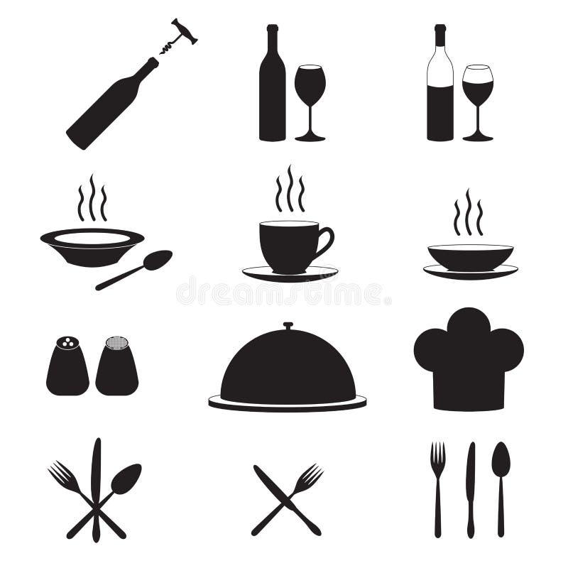 Restaurant en keukenpictogrammen met wijnfles, glas, kop, vork, lepel, mes Vector illustratie vector illustratie