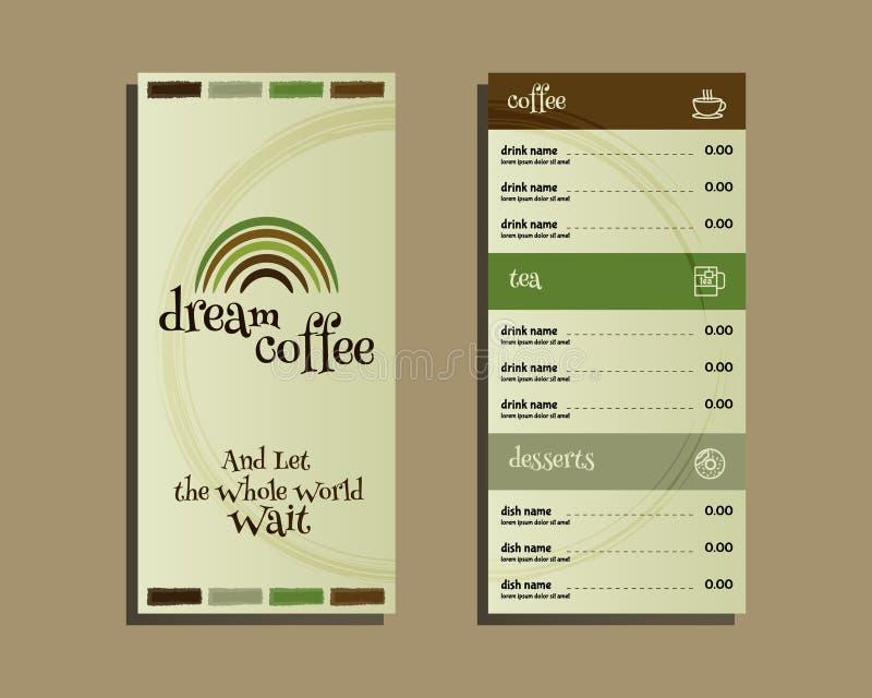 Restaurant en koffiemenu Vlak Ontwerp Met droom royalty-vrije illustratie