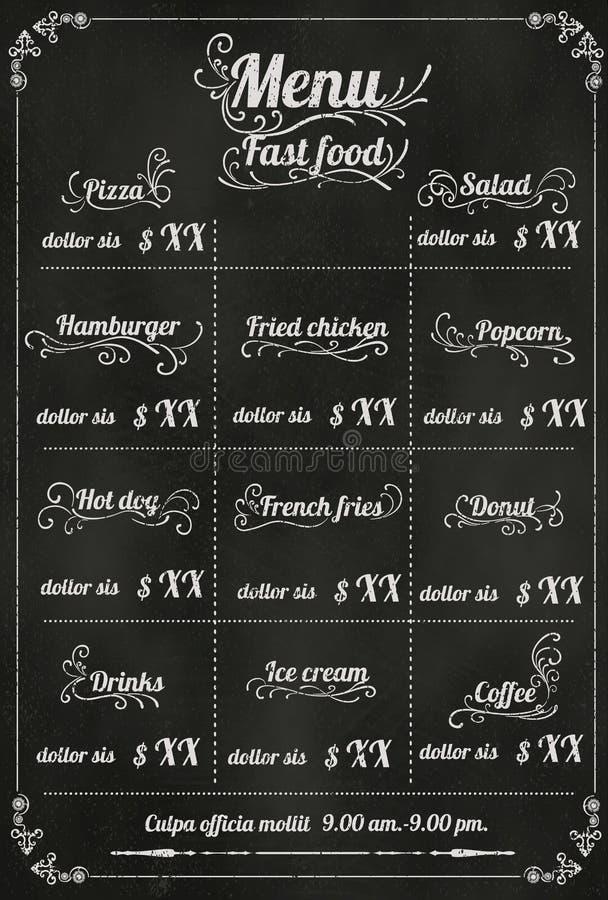 Restaurant fastfood Menu Design with Chalkboard Background vecto vector illustration