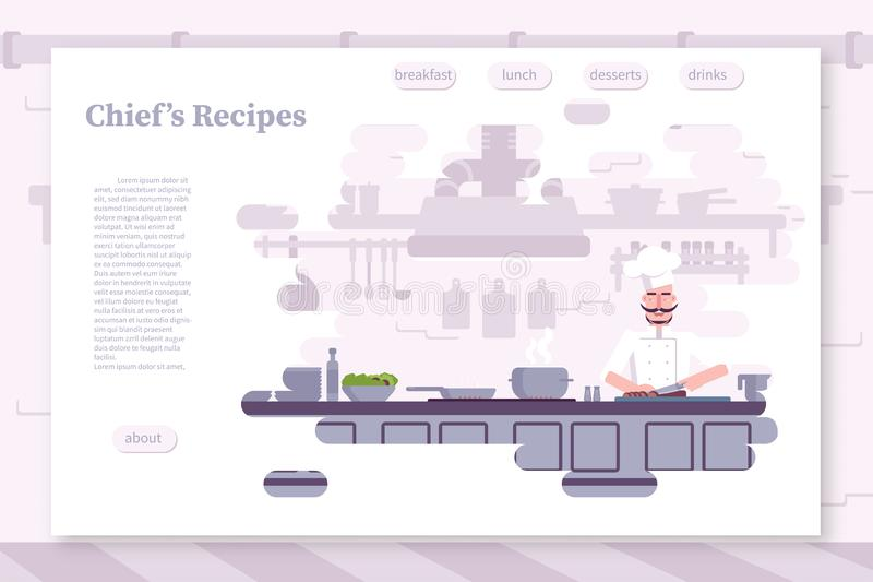 Restaurant flat color landing page vector template stock illustration