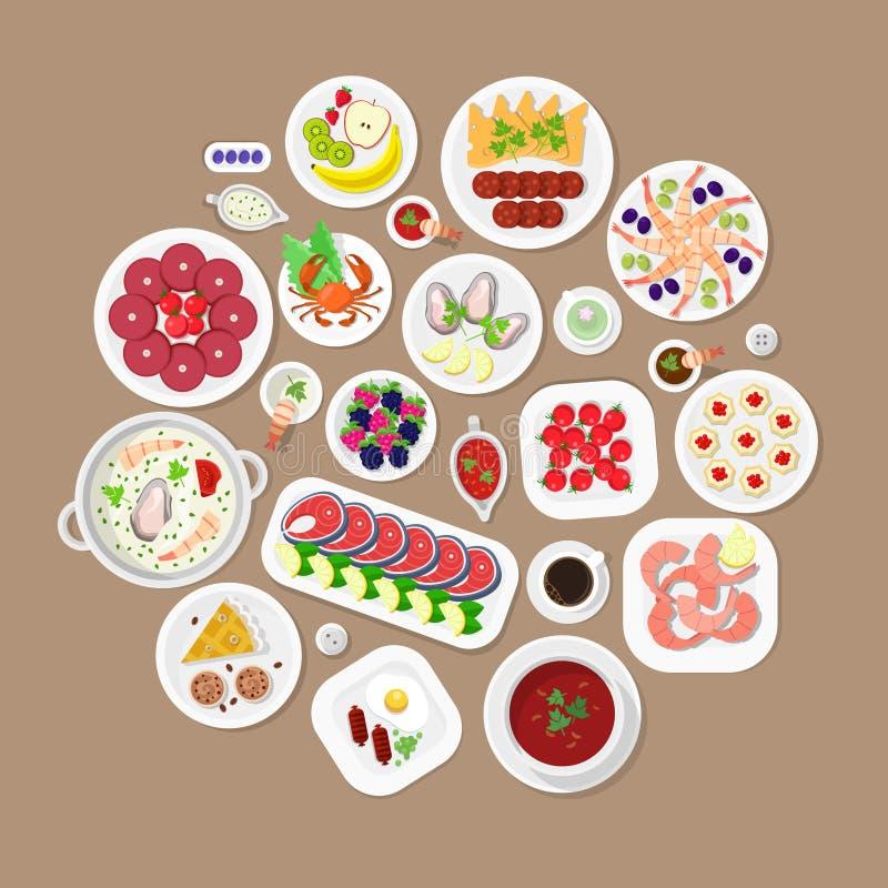Restaurant flat vector top view Japanese food: lobster fish dish vector illustration