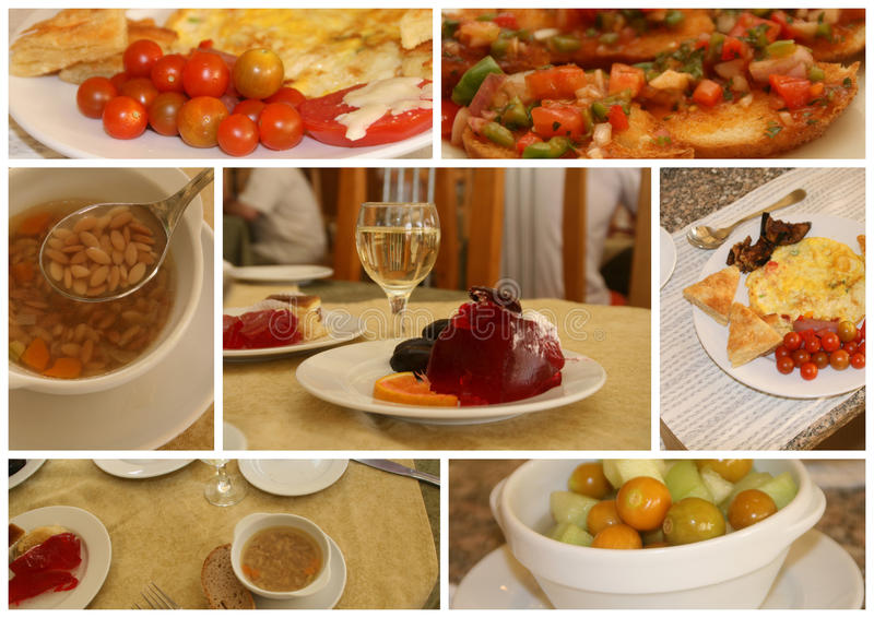 Restaurant food. Collage - soup, second dish, snacks and dessert stock photo
