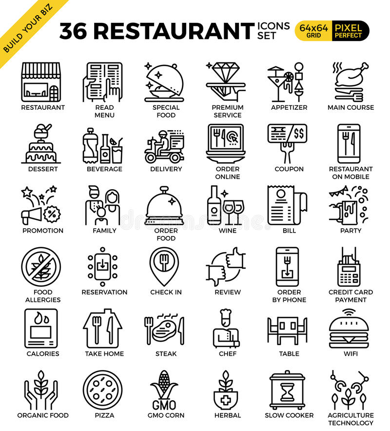 Restaurant food business pixel perfect outline icons. Modern style for website or print illustration vector illustration