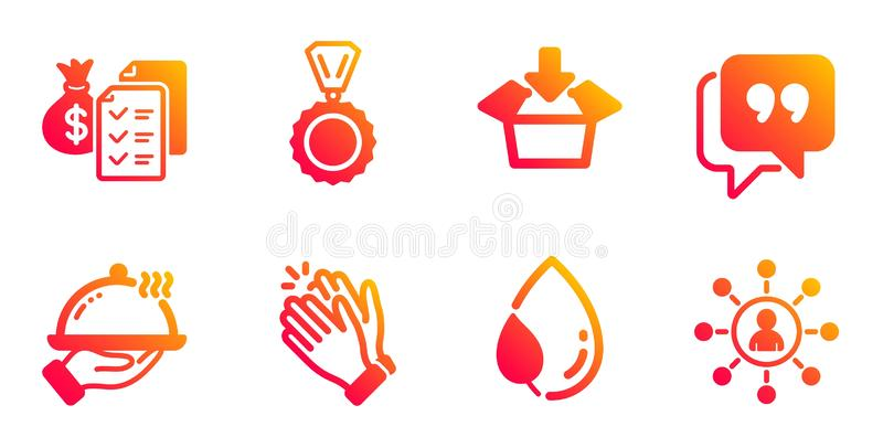 Restaurant food, Clapping hands and Medal icons set. Leaf dew, Quote bubble and Accounting wealth signs. Vector vector illustration